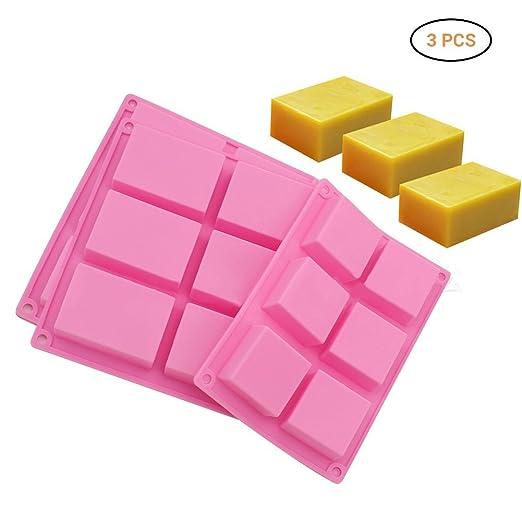 Surenhap 3 Piezas Moldes de jabón de Silicona rectángulo básica ...