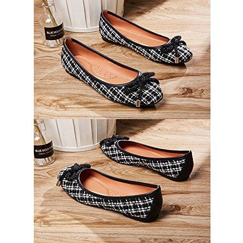 Treillis Peu Tissu Uk3 taille Bouche Été Printemps Chaussures YQQ Profonde Plates Sandales Féminines 5 En De Littérature Confortable Chaussures EU36 Chaussures Art Et Pw1qEOxF