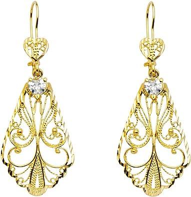 14k Tri-color Gold Oval Dangling Earrings, 41mm X 11mm