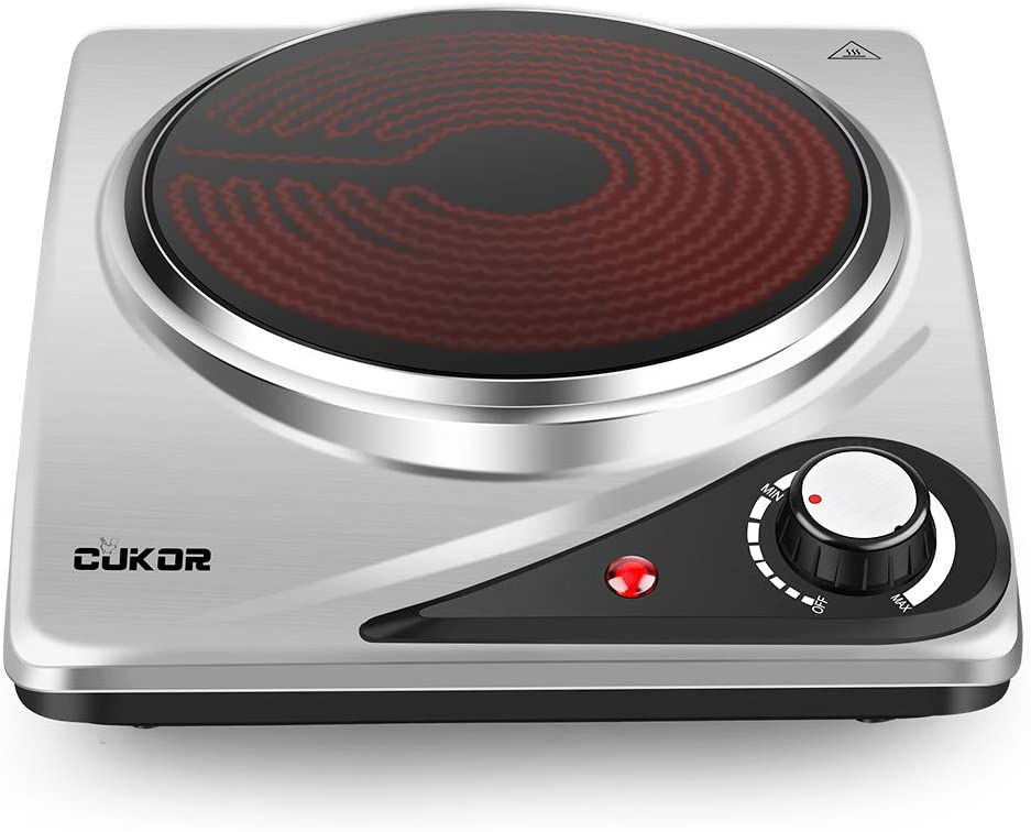 CUKOR Portable Electric Stove, 1200W Infrared Single Burner Heat-up In Seconds, 7.1 Inch Ceramic Single Hot Plate Cooktop for Dorm Office Home Camp, Compatible w/All Cookware