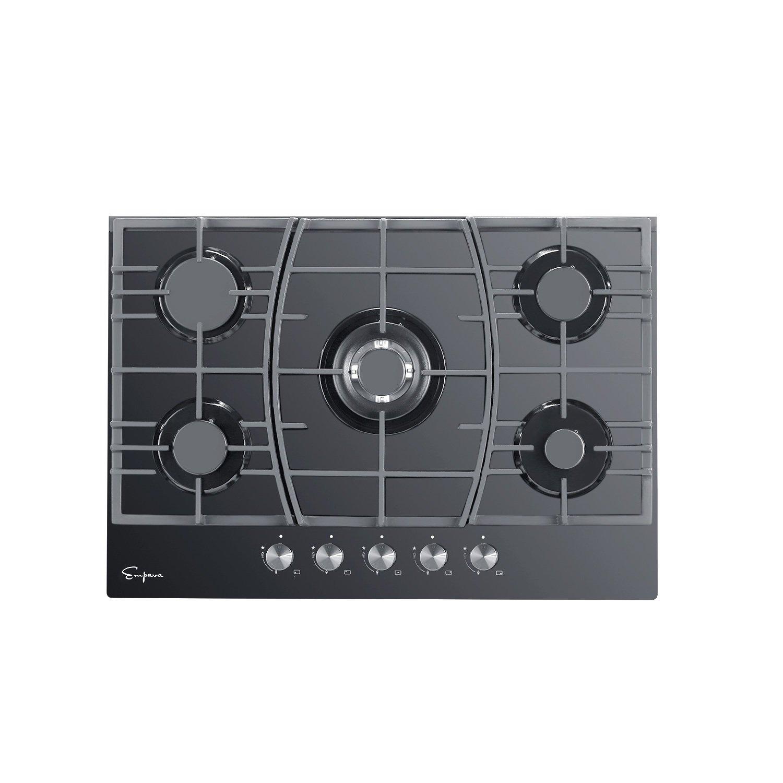 "Empava 30"" Black Tempered Glass 5 Italy Sabaf Burners Stove Top Gas Cooktop EMPV-30GC918"