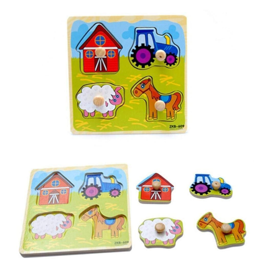 Kecooi Children Colorful Wooden Puzzle Baby Early Educational Toy Jigsaw Puzzles