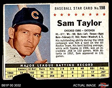 1961 Post Cereal   198 BOX Sam Taylor Chicago Cubs (Baseball Card) (Handcut 42dd2115b244