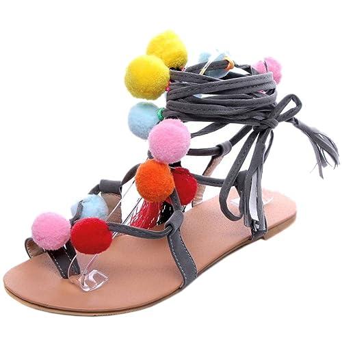 Lacets Chaussures Mules Sandales Gladiateur Genou Laniere Haut Pompon Taoffen Femme Plat OkXuPZiT