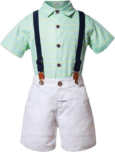 Xinwcang 2pcs Ropa Niños, Niño Moda Camisa de Rayas Tops + Tirantes para Pantalones Cortos Elegante T-Shirt y Shorts Trajes Conjunto: Amazon.es: Ropa y accesorios