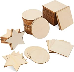 ANWING 100 Pieces Wooden Slices 4'' Unfinished Wood Blank Wooden Cutouts Square Circles Stars Door Hanger for DIY Crafts Door Design Painting Staining Burning Coasters
