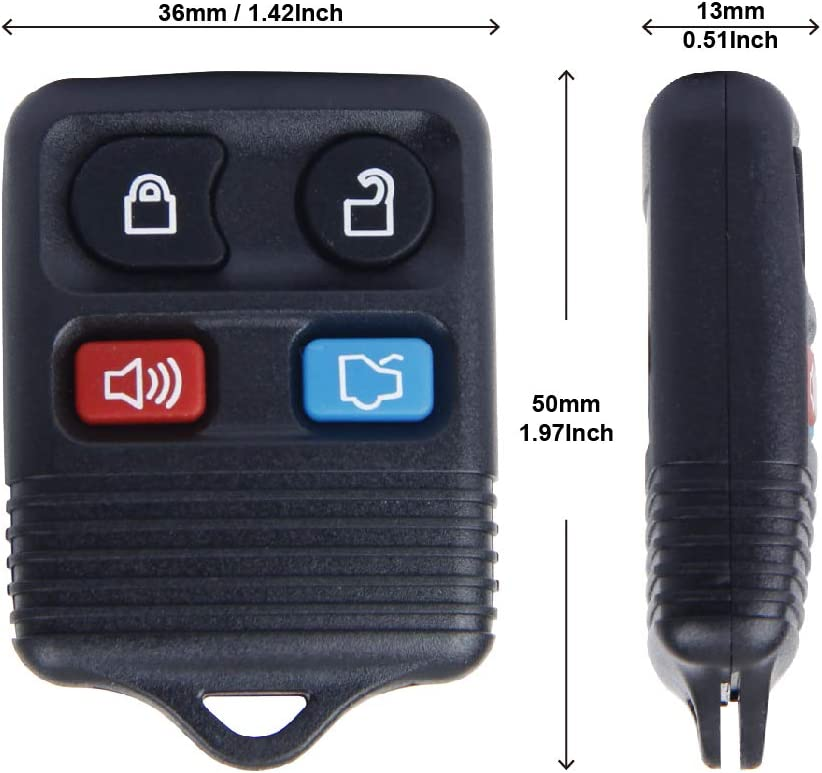 Lincoln 3 Button Big-Autoparts 2 Replacement Keyless Entry Remote Key Fob Clicker Transmitter for Ford 1998-2016 F-150 F-250 F-350 Mercury Mazda