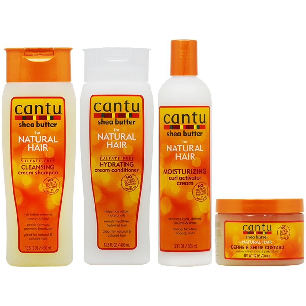 Cantu Cleansing Cream Shampoo + Conditioner + Curl Activator Cream + Define & Shine Custard ''Set'' by Cantu