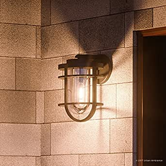 "Luxury Nautical Outdoor Wall Light, Medium Size: 14""H x 8""W, with Industrial Style Elements, Cage Design, Textured Black Sand Finish and Seeded Glass, UQL1001 by Urban Ambiance"
