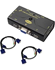2 Port USB 2.0 VGA KVM Switch up to 2048x1536 Resolution with USB Hub for PC Or Montior Switching
