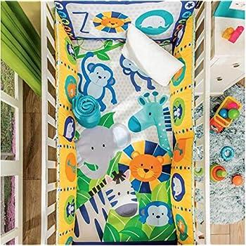 Image of 5-Piece Nursery Crib Bedding Set -Colorful Safari Baby Animals Home and Kitchen