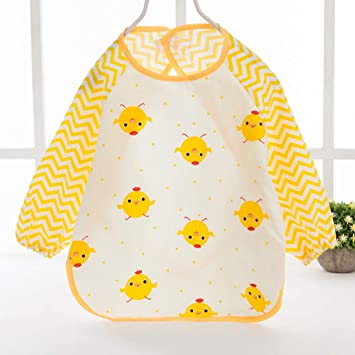Baberos unisex de manga larga para bebé, impermeables, de manga larga, para bebés, para pintar bebés, baberos de comida perfecta medium amarillo: Amazon.es: ...