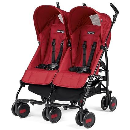 Peg Perego Pliko Mini Twin Geo - Silla doble de paseo plegable, color red