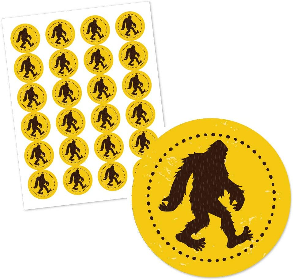 Big Dot of Happiness Sasquatch Crossing Bigfoot Party or Birthday Party Circle Sticker Labels 24 Count