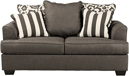 Signature Design by Ashley – Levon Classic Loveseat w 4 Accent Pillows, Charcoal Gray