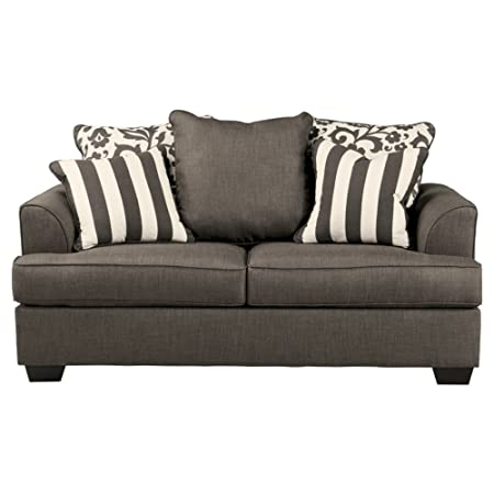 Ashley Furniture Signature Design – Levon Loveseat – Classic Style Couch – Charcoal Gray