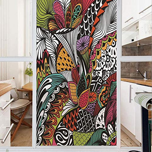 Decorative Window Film,No Glue Frosted Privacy Film,Stained Glass Door Film,Doodle Abstract Exotic Flowers Colorful Ornate Leaves Petals Festive Tropical,for Home & Office,23.6In. by 59In Multicolor