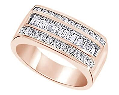 Wishrocks Round Cut White CZ Mens Hip Hop Clover Wedding Band Ring in 14K Gold Over Sterling Silver