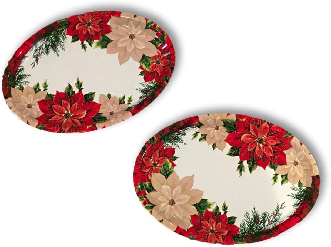 "Christmas Melamine Platter Dish Set of 2 Large Oval Poinsettia Serving Trays 18.5"" x 13"" (Poinsettia)"