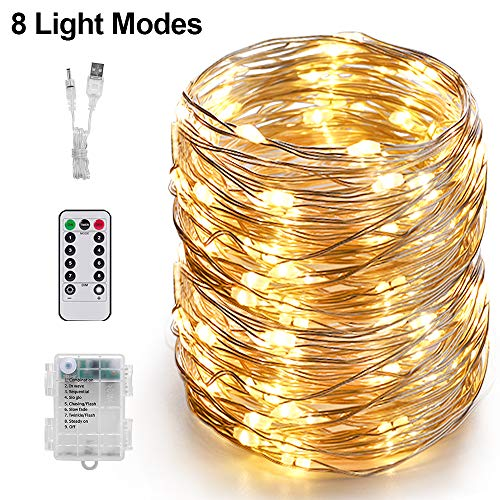 100 Led String Lights, CAFELE USB/Battery Operated Waterproof Firefly Fairy Lights with Remote Control Timer 8 Modes 33ft Copper Wire Christmas Lights Decor for Bedroom, Garden, Patio (Warm White)