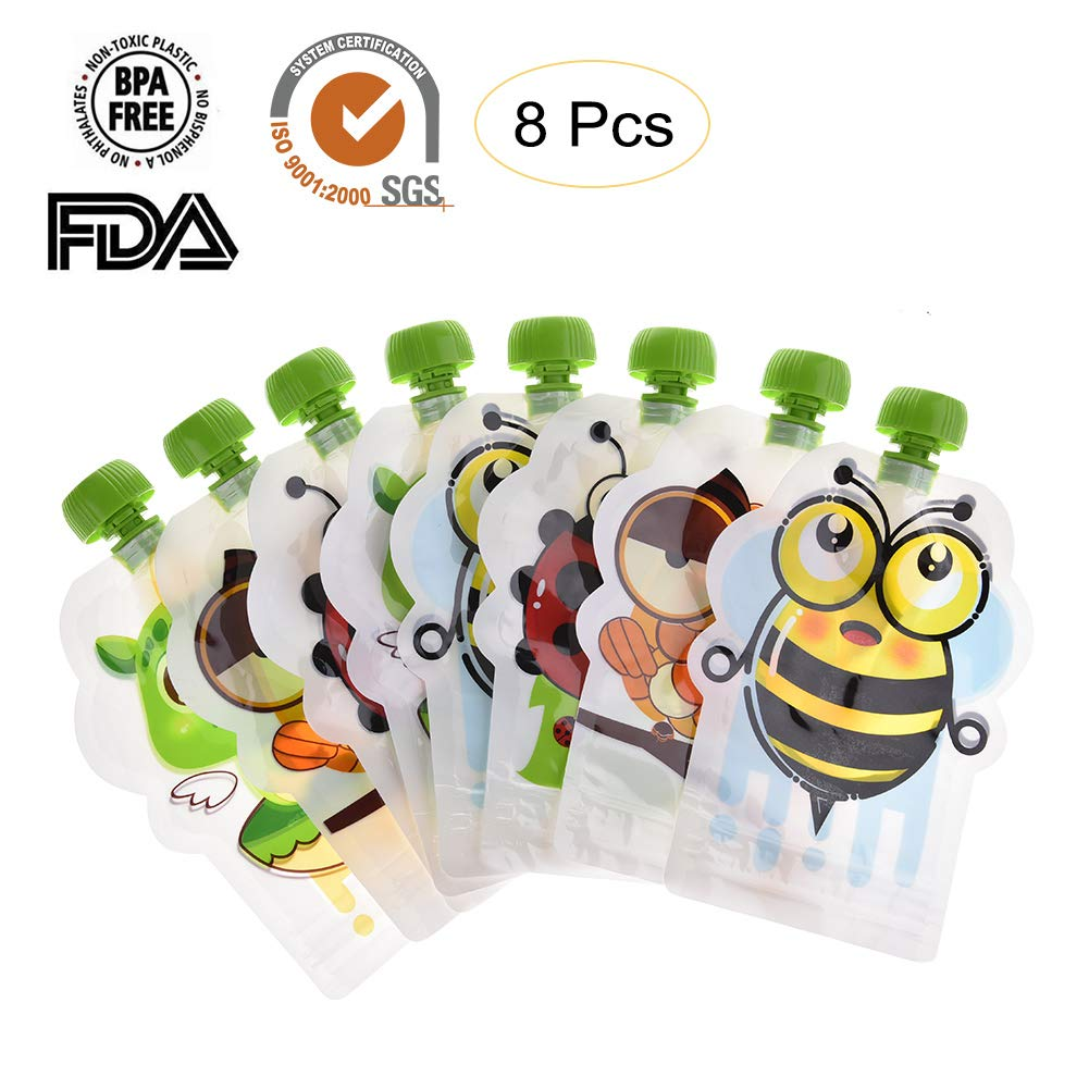 PER Lovely Animal Supplementary Food Pouch Double Zipper Reusable Squeeze Food Storage Bags for Kids Toddlers Children BPA Free - 8 Pack, 150ml