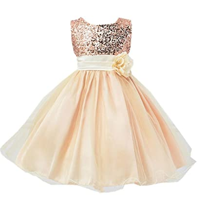 Vestido de niñas Vestido de princesa tutú sin mangas para niñas pequeñas de Bling Lentejuelas bebé