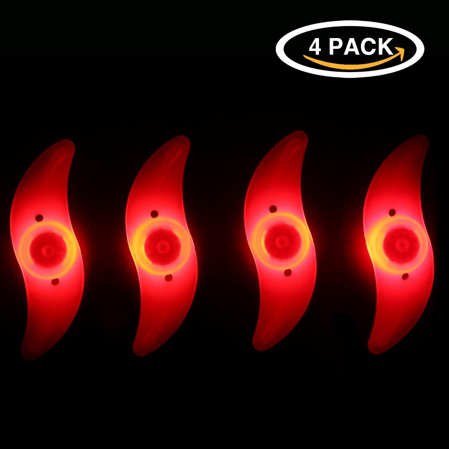 Oumersバイクスポークライト、防水バイクホイールリムライトサイクリングタイヤバルブスポークライト3 LEDフラッシュモード付きネオンランプ使用との安全警告(ブルーレッドグリーンカラフル) B0749M8QW8 4pcs Red 4pcs Red