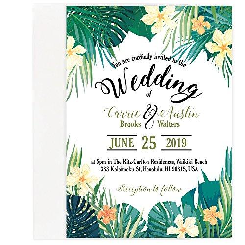 Custom - Tropical Beach Wedding Save The Date Invitation Set - Set of 25, Personalized Wedding Invitation (Invitation + Envelope)