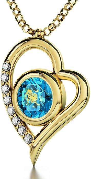 Vergoldete Horoskop Herzkette Sternzeichen Löwe Graviert mit 24k Gold auf 8mm Swarovski Anhänger, 8 Zirkonia, 45cm Gold filled Kette Nanostyle