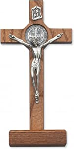 Religious Gifts Walnut Stained St. Benedict Crucifix Wall Decor Christian Catholic Cross, 8 - Inch