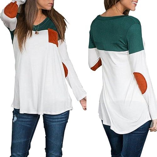 Rawdah Moda de las mujeres de manga larga Casual Blusa algodón Tops T-Shirt