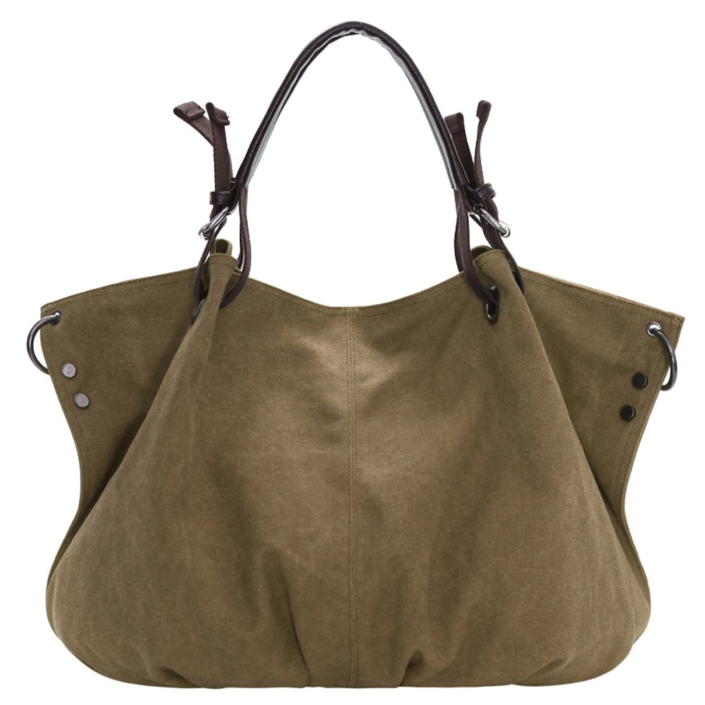 Iswee Women's Canvas Tote Bag Large Size Crossbody Shoulder Bag Top-Handle Bag for Shopping (Light Khaki)
