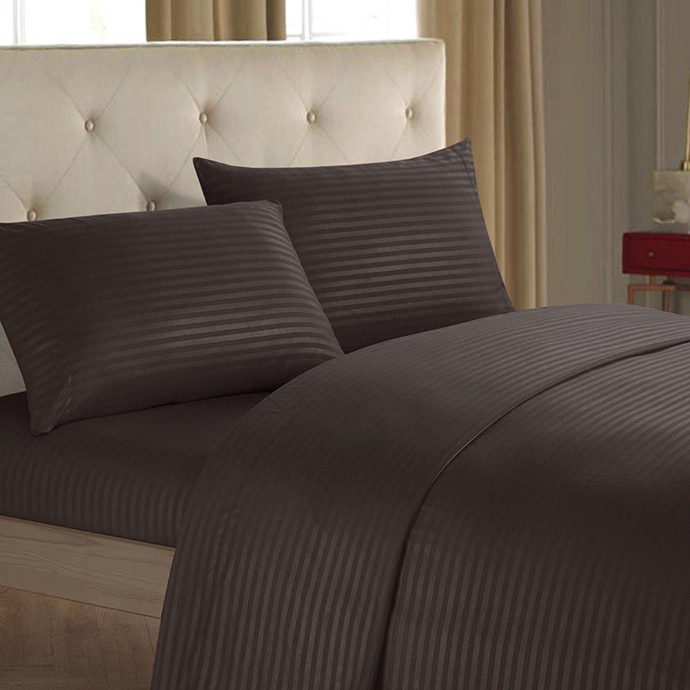 Sホテルコレクションベッドシーツ&枕カバーセットBrushed Strapedマイクロファイバー1800寝具Wrinkle、フェード、汚れ耐性低刺激性 – 4 Piece キング ブラウン B078W31391 ブラウン キング