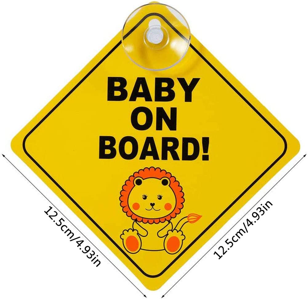 Yuesen Baby On Board Schild 4 Stück Baby An Board Aufkleber Mit Saugnapf Kind Auto Aufkleber Hitzebeständig Warnschild Für Auto Mit Gelb Auto