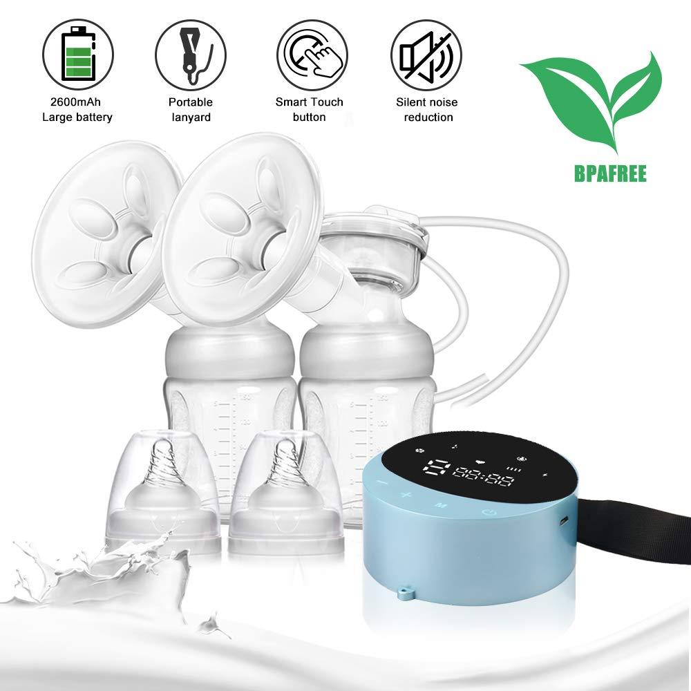 Extractor de leche el/éctrico doble 4 modos 10 niveles lactancia Saca leche LED pantalla BPA Free Succi/ón de Leche Materna y Masaje de Senos Sacaleches doble El/éctrico Recargable Port/átil