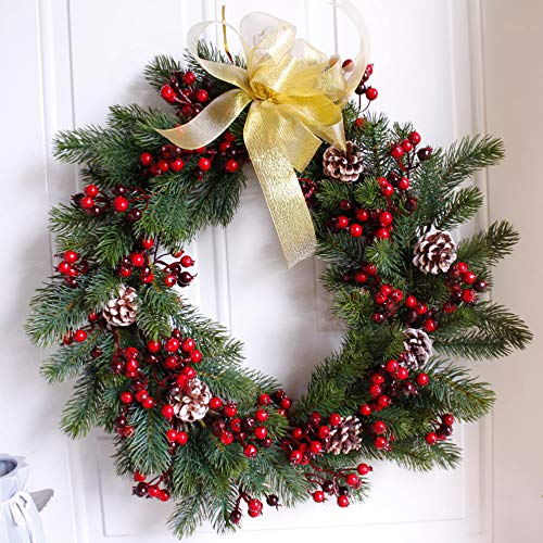 Wreath: Nearly Real, 20-Inches, Pine & Pip Berry Wreath, Christmas Greenery Wreath, Faux Foliage Wreath - Large, Artificial, Rustic, Farmhouse, for Front Door Window - Round, Green & - Wreath Berry Very