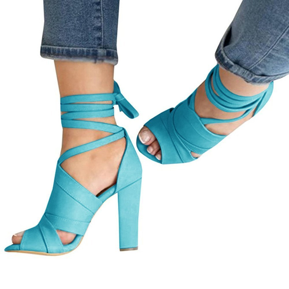 ThusFar Womens Chunky Heel Sandals Peep Toe Shoes Lace Up Party Beach Sandals Light Blue 6.5 US