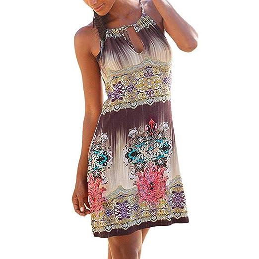961672790a93 Amazon.com  Dressin Women Halter Neck Boho Print Sleeveless Casual Mini  Beachwear Dress Sundress Dresses  Clothing