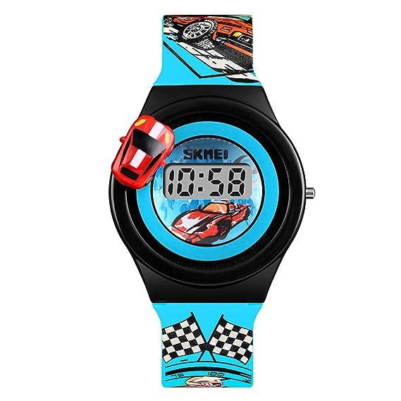Reloj Digital para niños Relojes de Dibujos Animados a Prueba de Agua para niños Regalo de cumpleaños con carátula giratoria para niños, ...