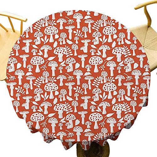Mushroom Tablecloth - 55 Inch Round Tablecloth Multicolor Cute Amanita Pattern with Leaves Berries Poisonous Plants Cartoon Style Protection Table Burnt Sienna White