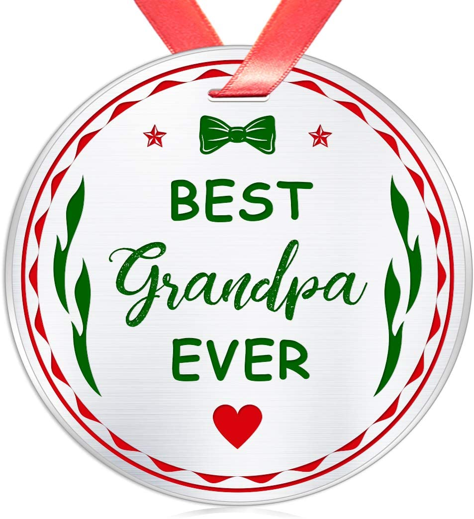 Elegant Chef Christmas Ornament Gift for Grandpa- Best Grandpa Ever- Xmas Holidays Celebration Decoration Gift for Grandfather Papa- Festival Collectible Keepsake- 3 inch Flat Stainless Steel