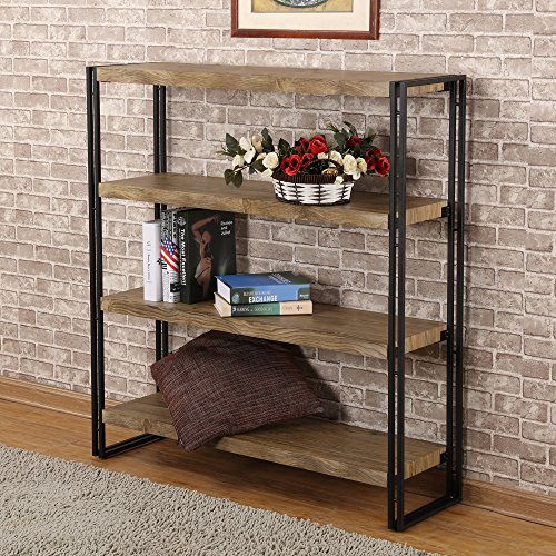 FIVEGIVEN 4 Tier Bookshelf Rustic Industrial Wood And Metal Sonoma Oak By