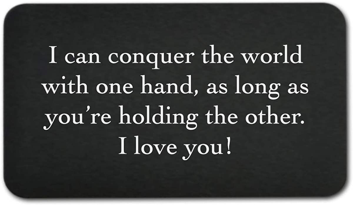 "Engraved Wallet Inserts -""I Can Conquer the World"" - Perfect Anniversary Gifts for Men or Women; Mini Love Note"
