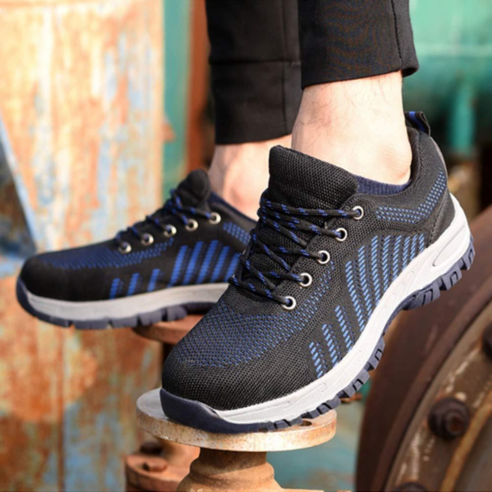KINGLEN Steel Toe Breathable Industrial Construction Shoes for Men Women Weaving Work Safety Shoes (8 Women / 6.5 Men, Blue) by KINGLEN (Image #5)