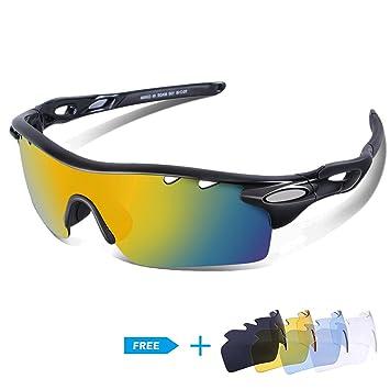 CHEREEKI lunettes de soleil polarisées à vélo cyclisme   1 lentille  polarisée + 4 Lentilles interchangeables 6d54f9c3e630
