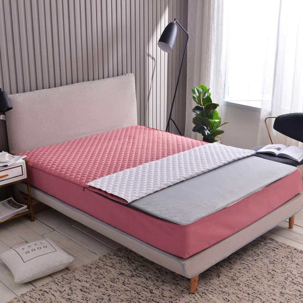 マットレストッパーパッドシックスサイドオールインクルーシブジッパー取り外し可能なベッドカバーマットレスカバー保護ケース防塵 (色 : Pink A, サイズ さいず : 2×2.2m(25cm high)) B07S3692Z3