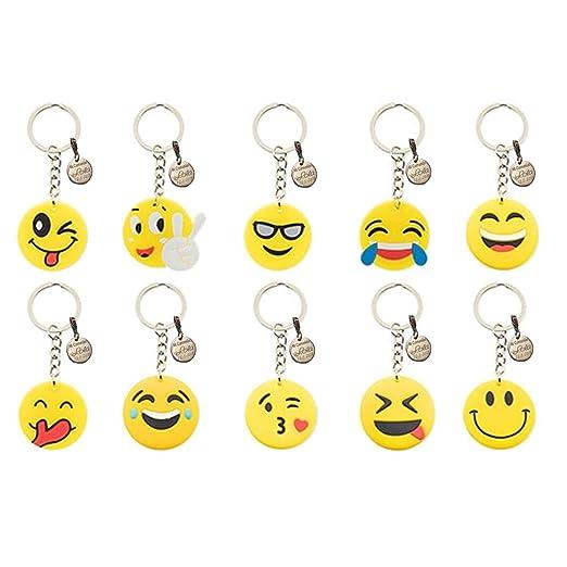 10 llaveros Emoji llavero emoticonos, para fiestas ...