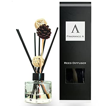 QIANGDA Reed Diffuser Set Scent Natural Reed Sticks Home Fragrance Gift  Meditation, Bathroom 3.4floz