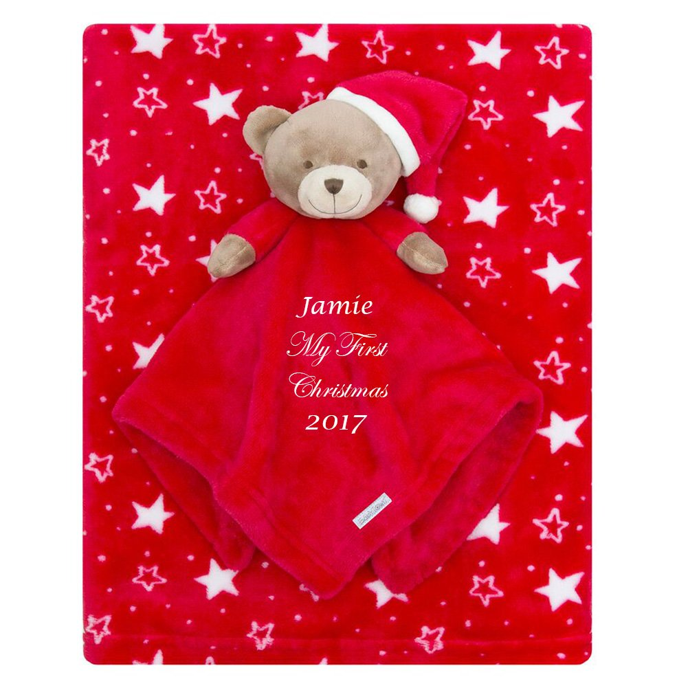 1st Christmas Personalised Embroidered Baby Comforter + Blanket Gift Set Baby Hoolaroo