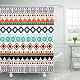 Emvency Shower Curtain Orange Southwest American Indian Geometric Pattern America Tribal Waterproof Polyester Fabric 72 x 78 Inches Set with Hooks